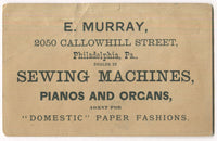 "E. Murray Sewing Machines, Phones, & Organs Antique Trade Card - 4.75"" x 3"""