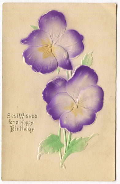 Best Wishes for a Happy Birthday Embossed Vintage Postcard