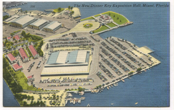 The New Dinner Key Exposition Hall, Miami, Florida Vintage Postcard