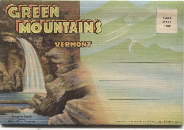 Green Mountains, Vermont Vintage Souvenir Postcard Folder