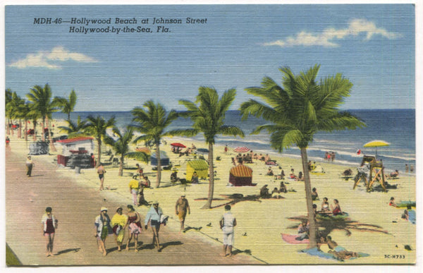 Hollywood Beach at Johnson St, Hollywood-By-The-Sea, Florida Vintage Postcard