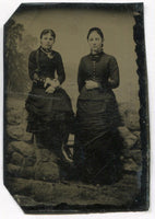 Tintype Photograph of Two Pretty Young Ladies