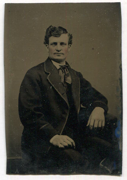 Tintype Photograph of a Dapper Looking Man Seated