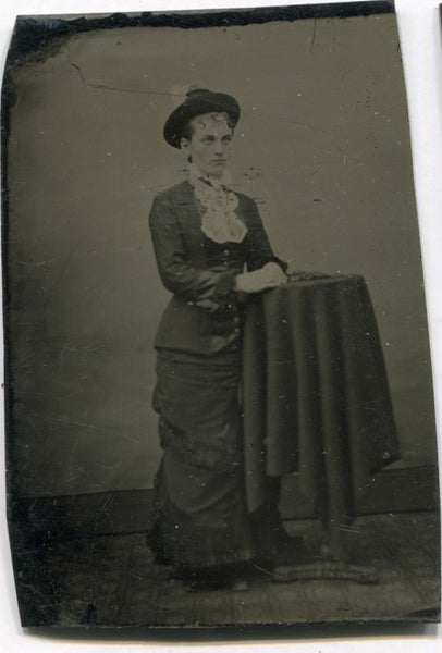 Tintype Photograph of a Pretty Young Lady Standing at a Table