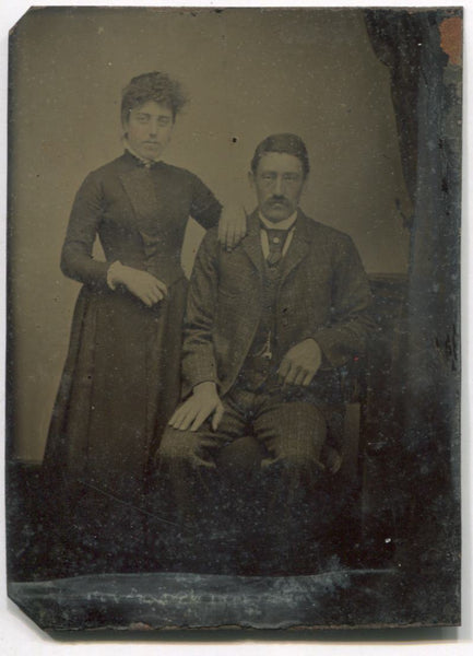 Tintype Photograph of a Couple, An Older Man and a Younger Woman