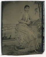 Tintype Photograph of a Woman in a Lovely Dress Leaning on a Chair