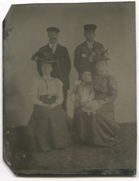Tintype Group Photograph of Two Couples and a Small Child