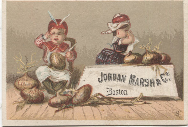 "Jordan Marsh & Co. Antique Trade Card, Boston, MA (Onions) - 3.75"" x 2.75"""