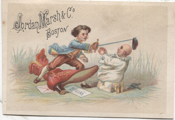 "Jordan Marsh & Co. Antique Trade Card, Boston, MA (Clown) - 3.75"" x 2.75"""