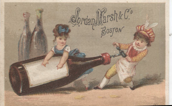 "Jordan Marsh & Co. Antique Trade Card, Boston, MA (Wine) - 3.75"" x 2.75"""