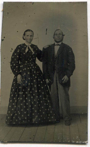 Tintype Photograph of a Couple, the Woman Wearing a Polka Dot Dress