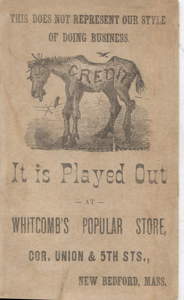 "Whitcomb's Popular Store Antique Trade Card, New Bedford, MA - 2.75"" x 4.5"""