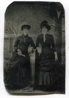 Tintype Photograph of Two Women Wearing Crucifixes