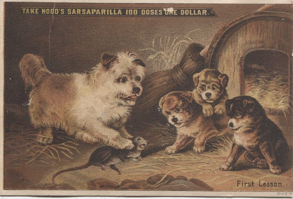 "Hood's Sarsaparilla, French's North End Pharmacy Antique Trade Card, Brockton, MA - 3.25"" x 4.75"""