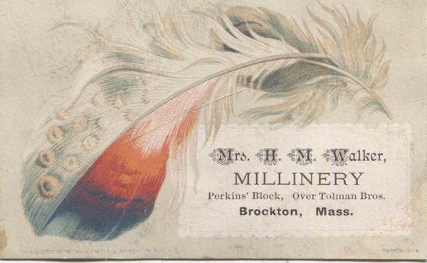 "Mrs. H.M. Walker Millinery Antique Trade Card, Brockton, MA - 4"" x 2.5"""