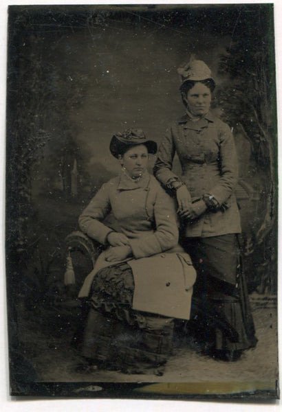 Tintype Photograph of Two Hat Wearing Ladies