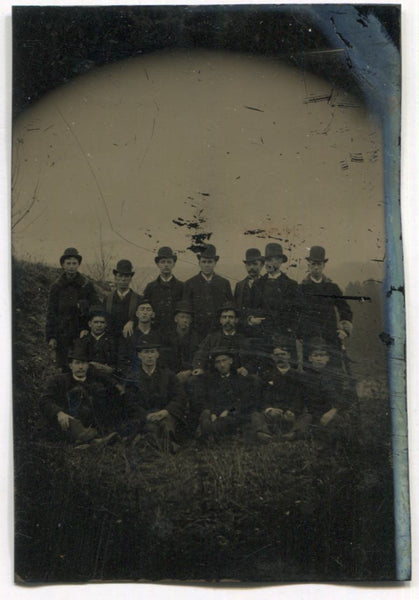Tintype Group Photograph of Sixteen Men