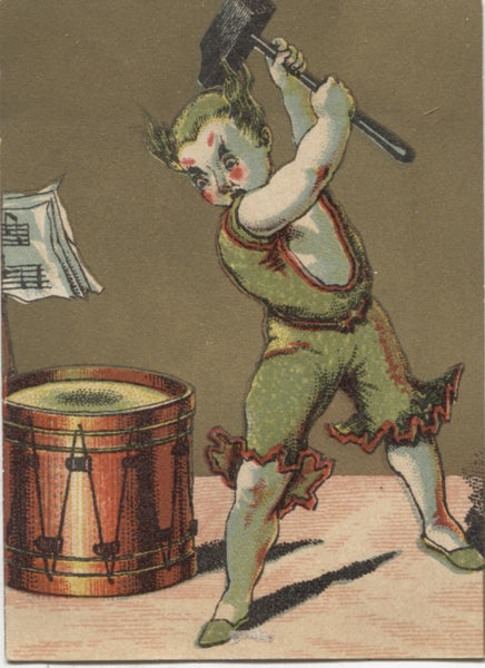 "Clown With Hammer and Drum Antique Trade Card - 2.5"" x 3.5"""