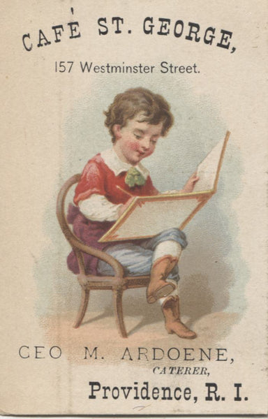 "Cafe St. George, Providence, RI Antique Trade Card (Boy with Book) - 2.5"" x 3.75"""