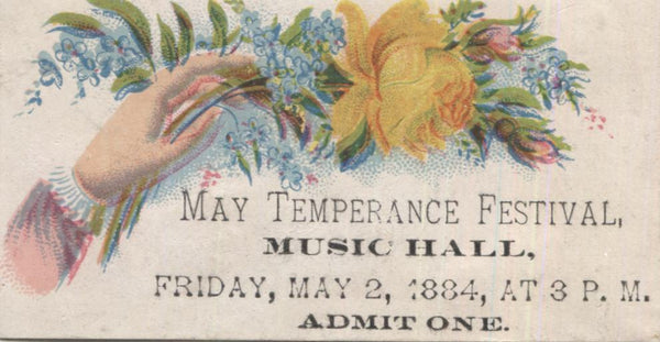 "May Temperance Festival 1884 Antique Trade Card - 3.25"" x 2"""