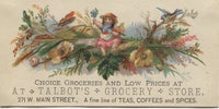 "Talbot's Grocery Store Antique Trade Card - 5"" x 2.5"""
