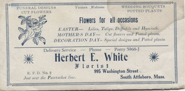 "Herbert E. White Florist Antique Trade Card, South Attleboro, MA - 6"" x 3"""