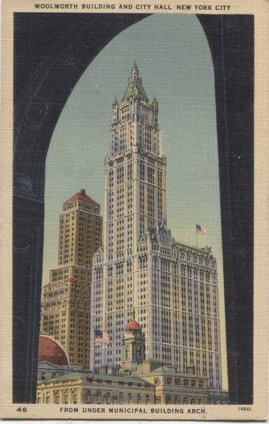 Woolworth Building and City Hall from Under Municipal Building Arch, New York City Vintage Postcard