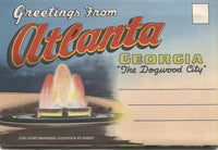 Atlanta, Georgia Vintage Souvenir Postcard Folder