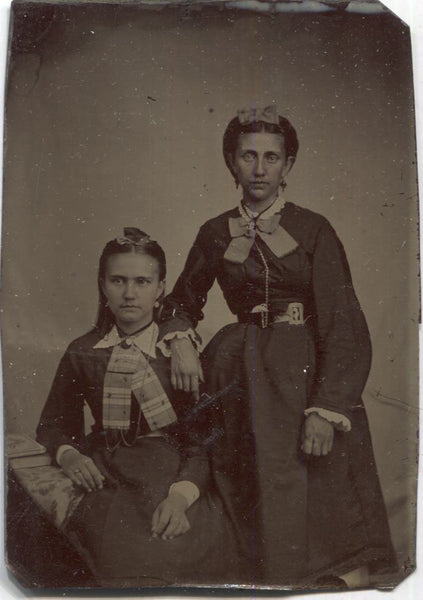 Tintype Photograph of a Mother and Daughter