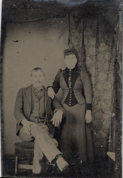 Tintype Photograph of A Couple, Man Seated, Woman Standing