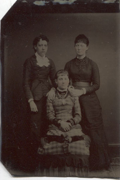 Tintype Photograph of a Girl on her Confirmation Day with Two Women