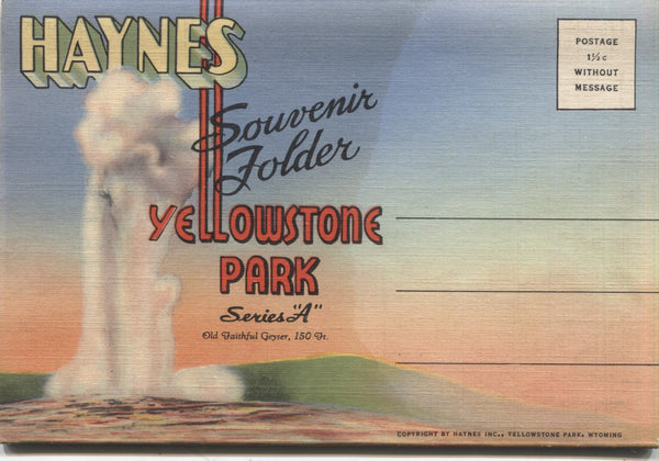 "Yellowstone Park ""Series A"" Vintage Souvenir Postcard Folder"