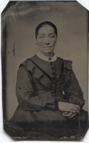 Tintype Photograph of an Older Woman with Crossed Hands
