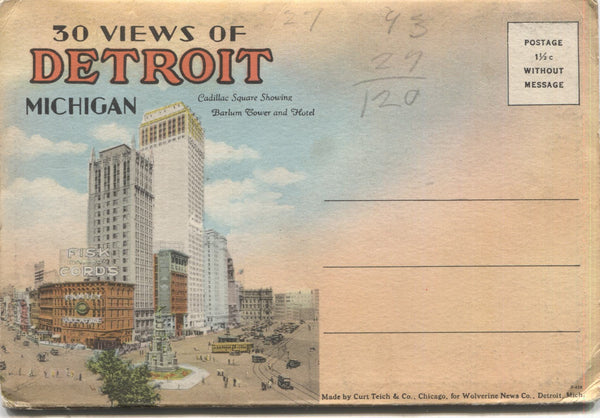 Detroit, Michigan Vintage Souvenir Postcard Folder
