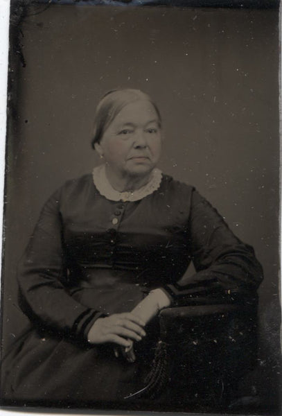 Tintype Photograph of an Elderly Woman with Tinted Cheeks and Lips