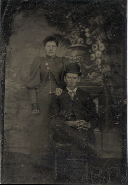 Tintype Photograph of a Young Couple with a Stern Looking Man