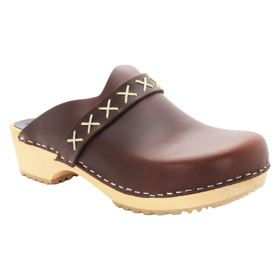 BJORK 610603-3-36 BJORK Pixie Wood Open Back Full Grain Leather Clogs Brown / EU-36