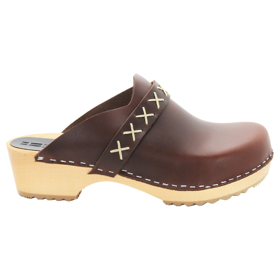 BJORK BJORK Pixie Wood Open Back Full Grain Leather Clogs