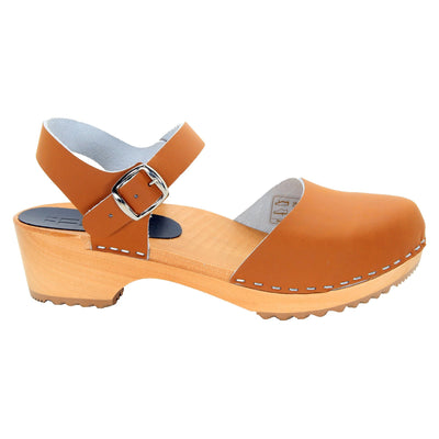 BJORK BJORK ALMA Swedish Wood Clog Sandals in Veg Tan Leather