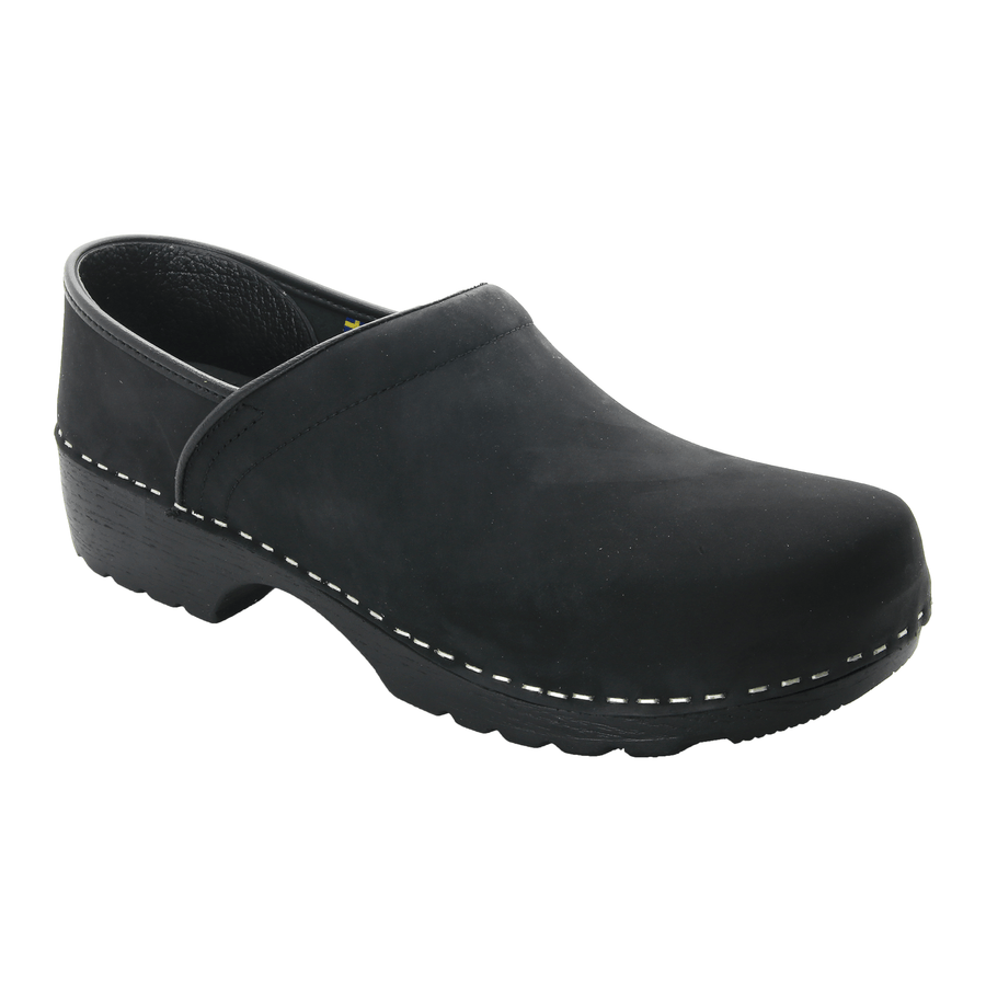BJORK 657206-2-40 BJORK KEN Swedish Men's Pro Oiled Leather Clogs Black / EU-40