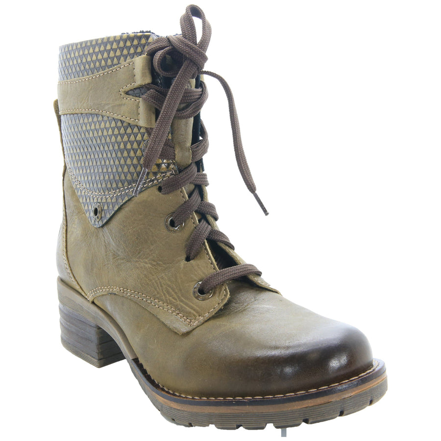 Dromedaris Kara-boot-olive-metallic-2 DROMEDARIS Kara Leather Boots Olive Metallic 2 / EU-37