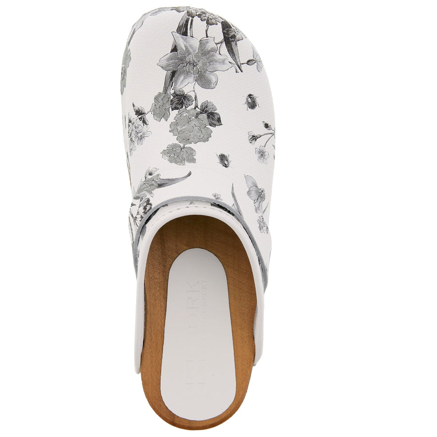 BJORK BJORK Aldi Wood Open Back Flower Print Leather Clogs