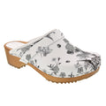 BJORK 600007-90-36 BJORK Aldi Wood Open Back Flower Print Leather Clogs Multi / EU-36