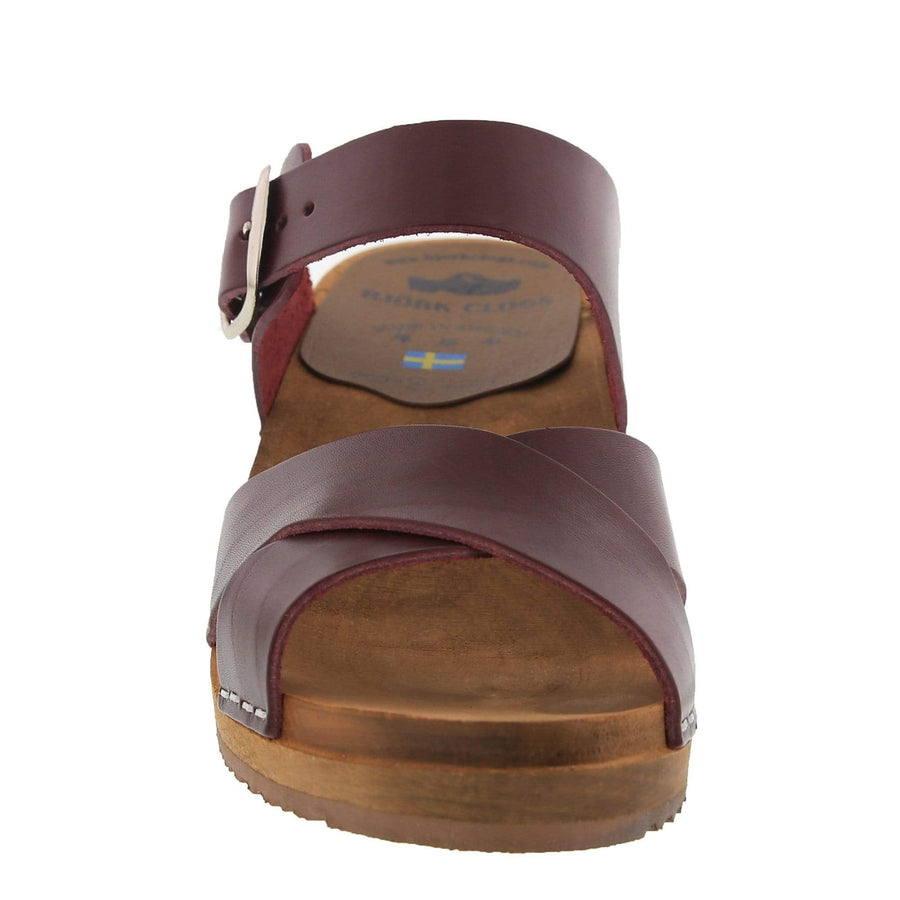 BJORK BJORK ALICE Swedish Wood Open Back Clog Sandals in Bordeaux Cabrio Leather