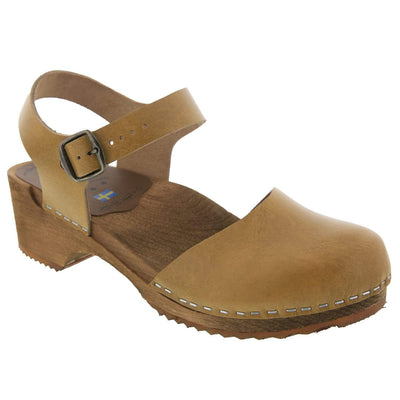 BJORK 654333-7-36 BJORK ALMA Swedish Wood Clog Sandals in Veg Tan Leather Mustard / EU-36