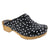BJORK 600010-2-36 BJORK Emma Wood Open Back Polka Dots Leather Clogs Black / EU-36