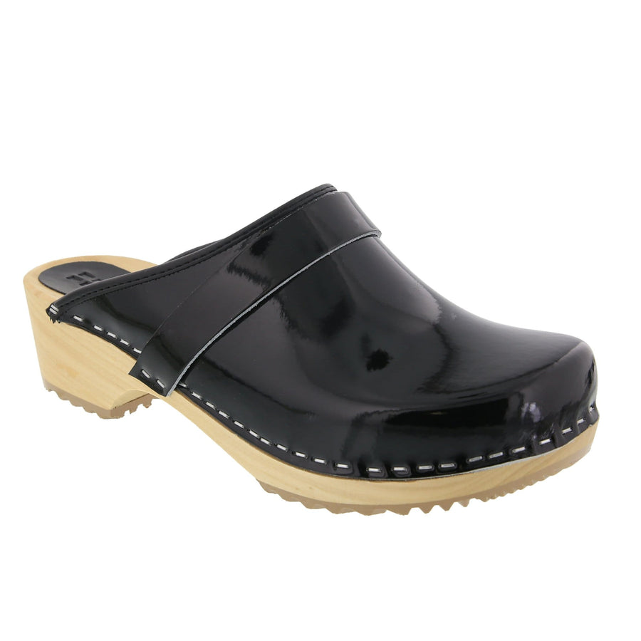 BJORK 757012-2-36 BJORK LEIA Wood Classic Open Back Patent Leather Clogs Black / EU-36