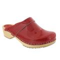 BJORK 757012-4-36 BJORK LEIA Wood Classic Open Back Patent Leather Clogs Red / EU-36