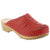 BJORK 600005-4-36 BJORK Mandy Wood Open Back Stitched Leather Clogs Red / EU-36