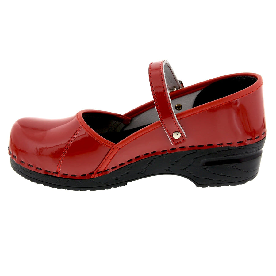 BJORK BJORK MARCELLA Mary Jane Red Patent Leather Clogs